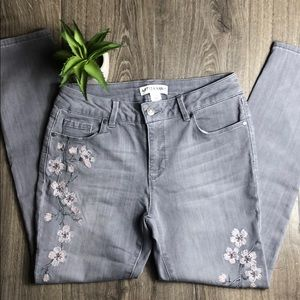 Stretch Skinny Ankle Embroidered Jeans